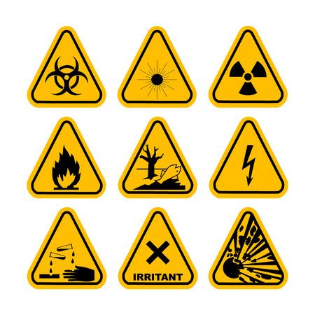 Warning Hazard Symbols. Set of icons. High voltage, toxic, caution, fire, laser radiation, radioactive, explosion, corrosive, irritant. Illustration