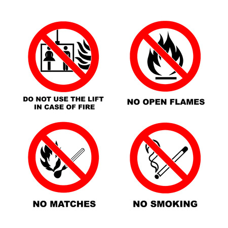 open flame: No smoking, No open flame, No matches. Do not use lift in case of fire. Fire, open ignition source and smoking prohibited signs. Dangerous symbols set. Warning sheet.