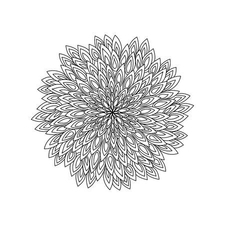 만다라. 흑백 장식 라운드. 색칠 공부.