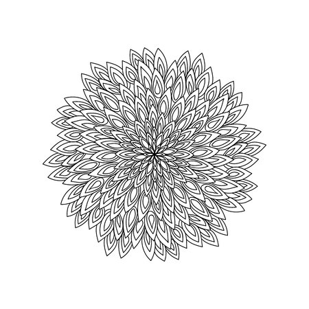 Mandala. Black and white round ornament. Coloring page. Illustration