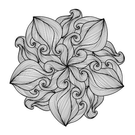 leaf line: Mandala. Black and white round ornament. Coloring page. Vector illustration. Illustration