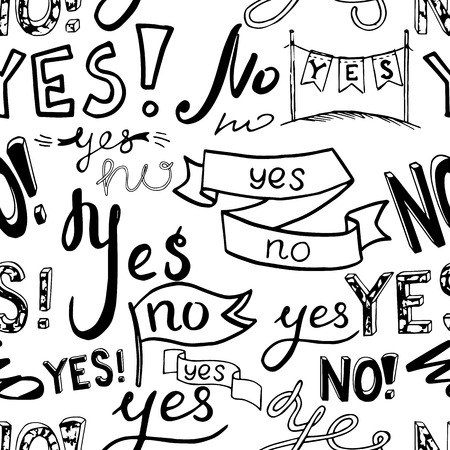 yes or no: black white seamless vector pattern background illustration with words no and yes. seamless illustration. no, yes lettering pattern. Illustration