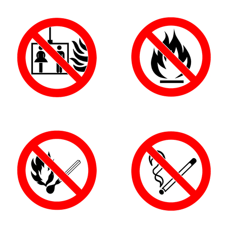 not open: No smoking, No open flame, No matches. Do not use lift in case of fire. Fire, open ignition source and smoking prohibited signs. Dangerous symbols set. Warning sheet.