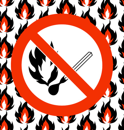 open source: No matches. Fire, open ignition source and smoking prohibited signs. Dangerous symbols set. Warning sheet. Prohibited symbol on seamless fire background. Vector illustration.