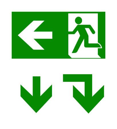 벡터 화재 긴급 아이콘 및 화살표입니다. 대피 신호. 화재 비상구 녹색.