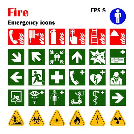 Vector brand noodsituatie pictogrammen. Tekenen van evacuaties.