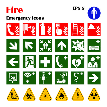 arrow poison: Vector fire emergency icons. Signs of evacuations. Illustration