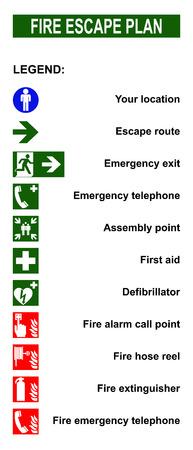escape route: Set of symbols for fire escape evacuation plans. Stock Photo