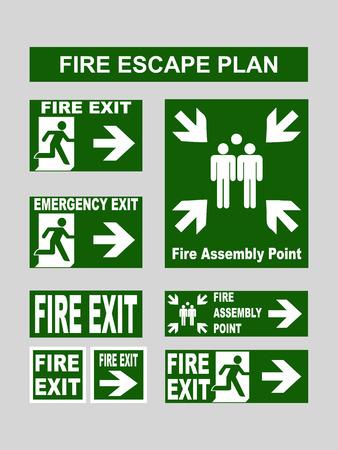 salida de emergencia: Conjunto de salida de emergencia verde banderas de salida de incendios, salidas de emergencia, punto de reuni�n de incendios, salida de evacuaci�n para los planes de evacuaci�n de incendios. Ilustraci�n del vector aislado en gris
