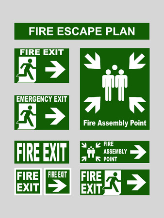 fire exit: Set of green emergency exit banners fire exit, emergency exit, fire assembly point, evacuation exit for fire escape plans. Vector illustration isolated on grey Stock Photo