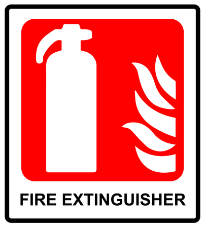 suppression: Fire extinguisher sign.