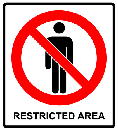 Vector Circle Prohibited Symbol Restricted Area For Member Only or No Enter Sign in Caution Zone isolated on white Stock Illustratie