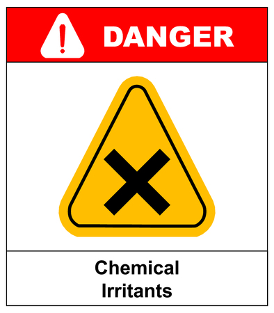hazardous area sign: vector irritant sign in yellow triangle. danger banner with text chemical irritants.