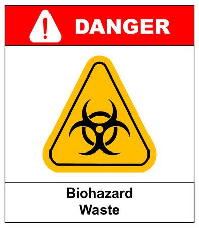 biological waste: Biohazard symbol sign of biological threat alert, vector biohazard sign in yellow triangle. danger banner with text biohazard waste.