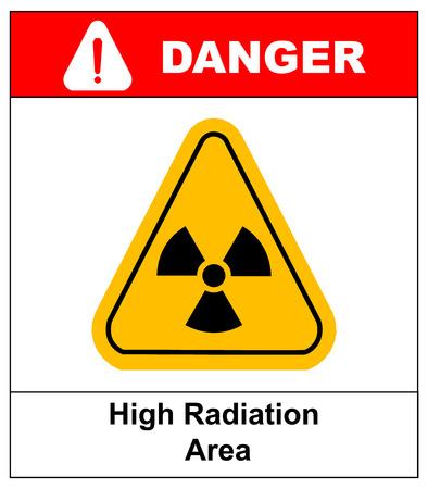 point exclamation: Triangle jaune hazardsymbol de rayonnement avec le texte zone de rayonnement élevé isolé sur fond blanc danger bannière avec point d'exclamation Illustration