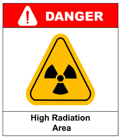 point exclamation: Triangle yellow radiation hazardsymbol with text high radiation area isolated on white background danger banner with exclamation point