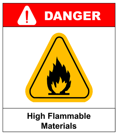 Fire warning sign in yellow triangle.