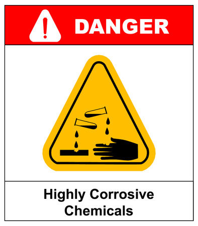 corrosive poison: Highly corrosive chemicals sign in yellow triangle isolated on white danger banner with text Illustration