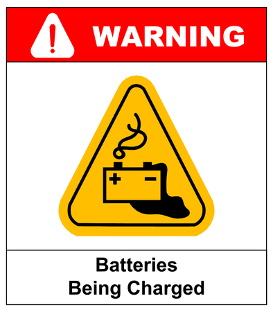 take charge: Warning battery charging sign in yellow triangle isolated on white with exclamation point danger banner and text Batteries being charged. Danger from loading batteries.