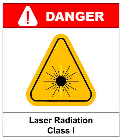 exclamation point: Danger laser radiation Class I symbol in yellow triangle isolated on white with text and exclamation point. Informational banner.