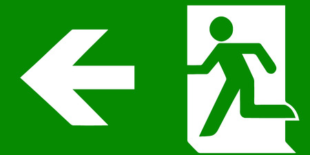 Vector fire emergency icons. Signs of evacuations. Fire emergency exit in green. Illusztráció