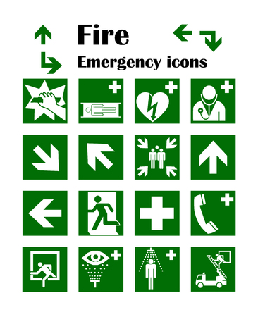 Vector fire emergency icons. Signs of evacuations. Fire emergency exit in red.