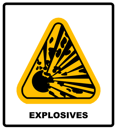 exclaim: symbol of the explosion in the yellow triangle danger informational banner with text explosives keep out Illustration
