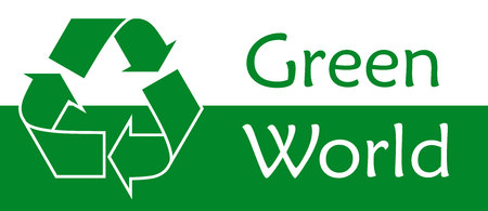 green world: Green world Recycle symbol or sign of conservation green icon Vector symbol on the packaging.