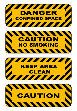 hazardous area sign: Industrial striped road warning yellow-black baanners set caution keep area clear no smoking confined area