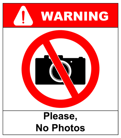 use regulation: Please, No photo camera vector sign in red circle isolated on white background. Vector prohition warning banner.