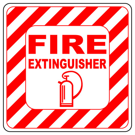 evacuation equipment: Fire extinguisher symbol text banner vector illustration striped in white and red