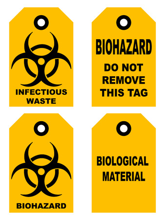 infectious waste: Biohazard symbol sign of biological threat alert, black yellow signage text, isolated set of tags for bags box vector illustration do not remove this tag infectious waste biological material