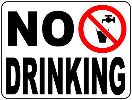 drinking water sign: Not drinking water sign vector Non-potable water Prohibition sticker for public places Do not drink
