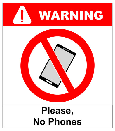cell phones not allowed: No cell phone sign. Mobile phone ringer volume mute sign. No smartphone allowed icon. No Calling label on white background. No Phone emblem great for any use. Stock Vector Illustration Warning sticker