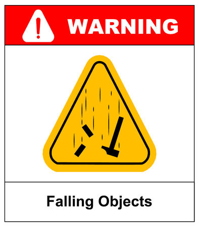 slip hazard: Danger Falling Objects Warning sign in yellow triagle . Vector illustration Warning banner
