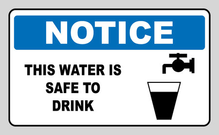 Drinking water sign This water is safe to drink notice Vector banner Mandatory symbol