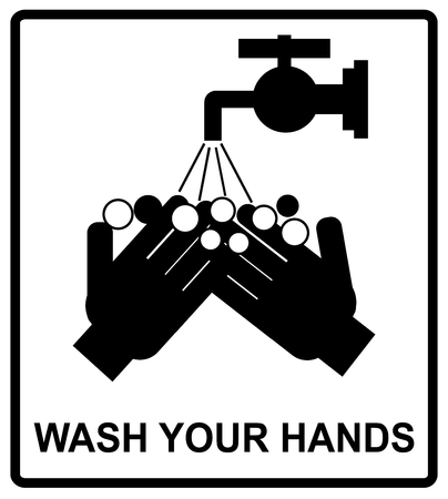 please wash your hands label: Vector please wash your hands befove eating, drinking or smoking sign, notice sticker for public places, WC,
