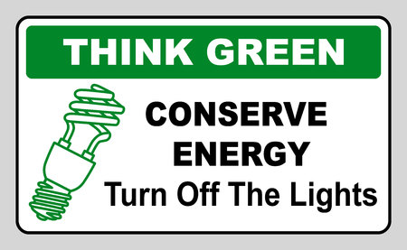 clean off: Think Green Conserve Energy Turn Off the Lights Vector illustration Eco save the world Informaniot notice sticker for public places