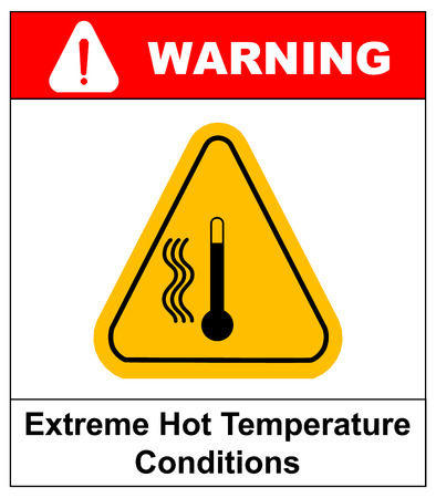 hot temperature: Vector high temperature warning sign, extreme hot temperature conditions danger symbol and sticker for public places