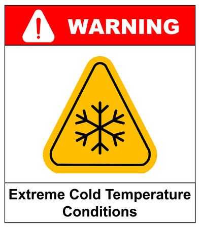 콜드 경고 기호, 눈 경고 - 삼각형 기호, 벡터 일러스트 레이 션 공공 장소에 대 한 낮은 온도 극단적 인 콜드 온도 조건 경고 시트 일러스트