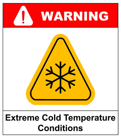 Cold warning sign , snow warning - triangular sign , vector illustration Low temperature Extreme Cold Temperature Conditions Warning sheet for public places Banco de Imagens - 60719976