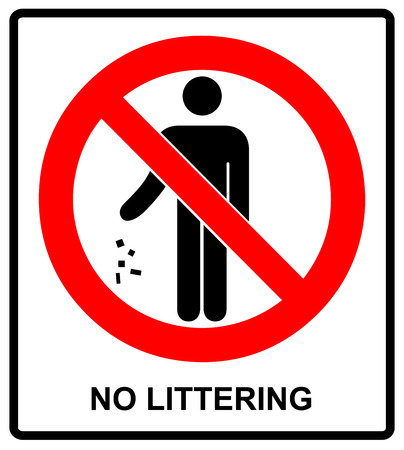 littering: no littering sign vector illustration do not litter prohibition sticker for public places in red circle Illustration