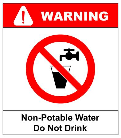물 금지 표지판을 마시지 마십시오. 벡터 일러스트 레이 션 물과 밸브의 유리입니다. 비 음용수 경고 표지판. 수돗물