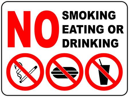 흡연, 먹는 및 음주에 대 한 금지 표지판 공공 장소에 대 한 일반 금지 기호 스티커 벡터 일러스트 레이 션