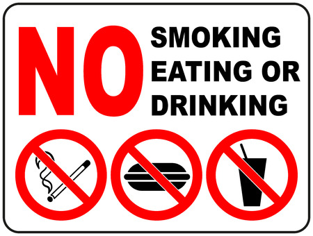 Prohibition Signs for Smoking, Eating and Drinking General prohibition symbol sticker for public places Vector illustration Reklamní fotografie - 60719983