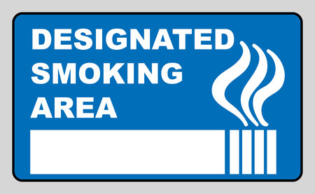 smoking place: Designated smoking area sign isolated on grey background Sticker label with cigarette for public smoking places vector illustratiobn