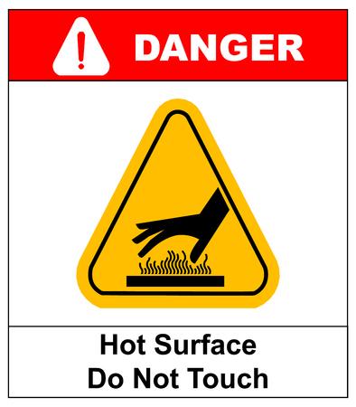 signos de precaucion: no toque la superficie caliente del vector señales de peligro ilustración vectorial informativo etiqueta adhesiva para lugares públicos