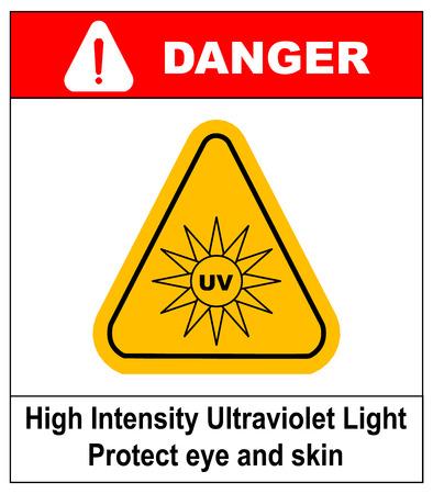 Intensité Lumière ultraviolette Protégez vos yeux et la peau UV Vector sticker label pour les lieux publics