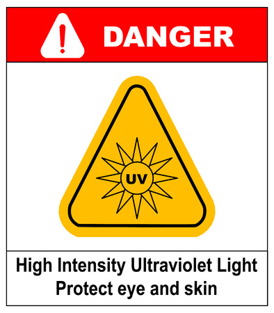 Intensity Ultraviolet Light Protect Your Eyes and Skin UV Vector sticker label for public places Illustration