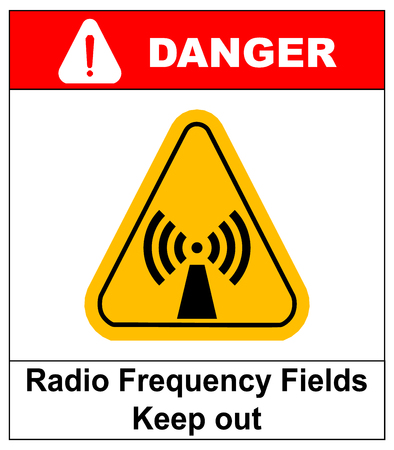 laser hazard sign: Danger banner radio frequency field in yellow triangle keep out official international hazard warning signs label for public places vector illustration